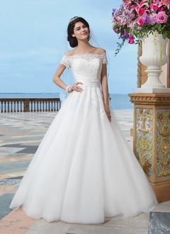 Ball-Gown Off-the-Shoulder Chapel Train Tulle Lace Wedding Dress With Beading