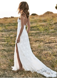 Sheath/Column V-neck Sweep Train Lace Wedding Dress