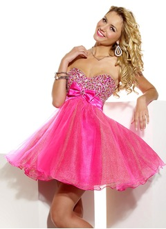 Empire Strapless Sweetheart Short/Mini Organza Satin Homecoming Dress With Ruffle Beading Bow(s)