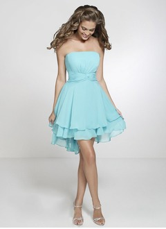 A-Line/Princess Strapless Asymmetrical Chiffon Homecoming Dress With Ruffle Cascading Ruffles