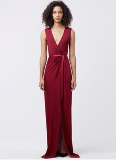 Sheath/Column V-neck Sweep Train Charmeuse Evening Dress With Beading Split Front
