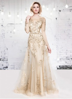 A-Line/Princess Scoop Neck Floor-Length Tulle Evening Dress With Lace Beading