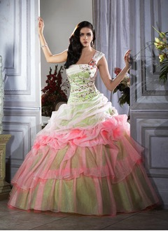 Ball-Gown One-Shoulder Floor-Length Organza Quinceanera Dress With Ruffle Lace Beading