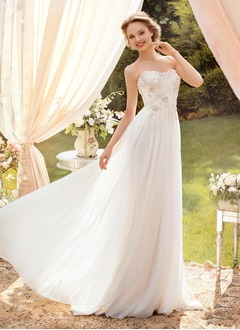 A-Line/Princess Strapless Sweetheart Floor-Length Chiffon Wedding Dress With Ruffle Beading