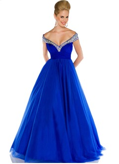 Ball-Gown Off-the-Shoulder Floor-Length Tulle Quinceanera Dress With Ruffle Beading