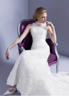 A-Line/Princess Halter High Neck Court Train Satin Lace Wedding Dress With Flower(s)
