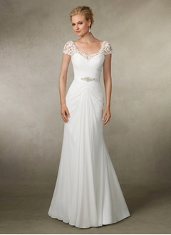 Trumpet/Mermaid Scoop Neck Court Train Chiffon Wedding Dress With Beading Appliques Lace