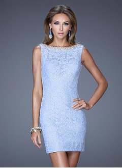 Sheath/Column Scoop Neck Short/Mini Lace Evening Dress With Beading Bow(s)