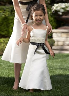 A-Line/Princess Strapless Floor-Length Satin Flower Girl Dress With Lace Sash