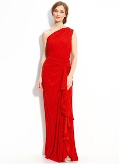 Sheath/Column One-Shoulder Floor-Length Satin Chiffon Homecoming Dress With Ruffle