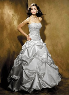 A-Line/Princess Sweetheart Chapel Train Satin Wedding Dress With Embroidered Ruffle