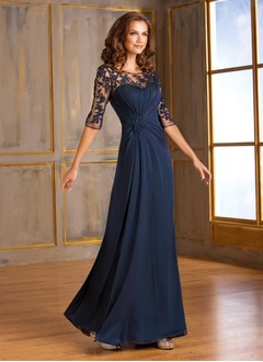 A-Line/Princess Scoop Neck Floor-Length Chiffon Tulle Mother of the Bride Dress With Ruffle Lace Appliques Lace