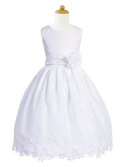 A-Line/Princess Scoop Neck Floor-Length Taffeta Flower Girl Dress With Lace
