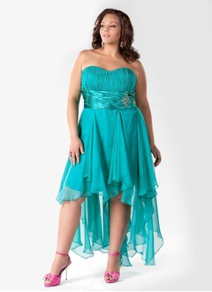 A-Line/Princess Strapless Sweetheart Asymmetrical Chiffon Charmeuse Prom Dress With Ruffle Beading