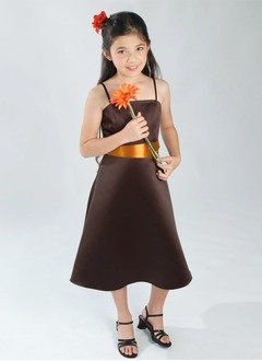 A-Line/Princess Strapless Tea-Length Satin Flower Girl Dress With Sash