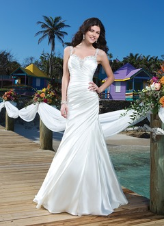 Trumpet/Mermaid Sweetheart Court Train Charmeuse Wedding Dress With Ruffle Beading