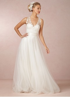 A-Line/Princess V-neck Sweep Train Tulle Wedding Dress With Lace Sash