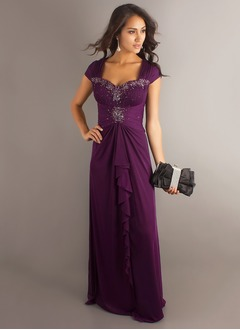 A-Line/Princess Sweetheart Floor-Length Chiffon Mother of the Bride Dress With Ruffle Beading Cascading Ruffles