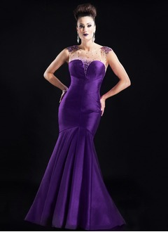 Trumpet/Mermaid Sweetheart Scoop Neck Floor-Length Taffeta Evening Dress With Beading