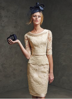 Sheath/Column Scoop Neck Knee-Length Satin Lace Evening Dress