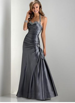 Trumpet/Mermaid Halter Floor-Length Taffeta Prom Dress With Ruffle Beading