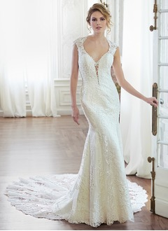 Trumpet/Mermaid V-neck Cathedral Train Satin Lace Wedding Dress