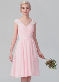 A-Line/Princess V-neck Knee-Length Chiffon Bridesmaid Dress With Ruffle Lace