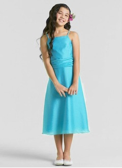 A-Line/Princess Strapless Tea-Length Taffeta Flower Girl Dress With Ruffle