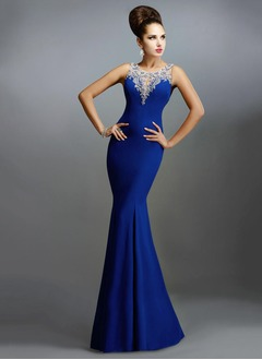 Trumpet/Mermaid Scoop Neck Floor-Length Jersey Evening Dress With Appliques Lace
