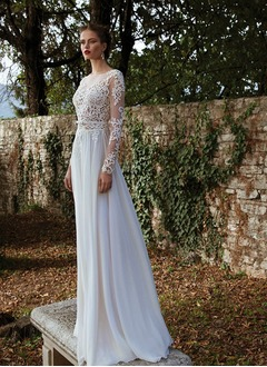 A-Line/Princess Scoop Neck Sweep Train Chiffon Tulle Lace Wedding Dress With Appliques Lace Bow(s)