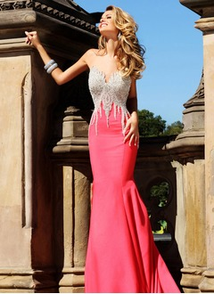Trumpet/Mermaid Sweetheart Scoop Neck Sweep Train Satin Evening Dress With Beading
