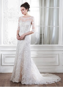 Trumpet/Mermaid Scoop Neck Court Train Tulle Lace Wedding Dress With Beading Appliques Lace