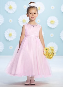 A-Line/Princess Scoop Neck Ankle-Length Satin Tulle Flower Girl Dress With Ruffle Beading