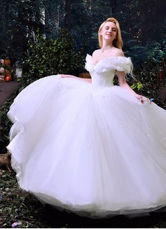 Ball-Gown Off-the-Shoulder Chapel Train Tulle Wedding Dress With Cascading Ruffles