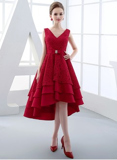 A-Line/Princess V-neck Asymmetrical Satin Lace Cocktail Dress With Appliques Lace