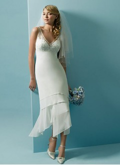 A-Line/Princess V-neck Asymmetrical Chiffon Tulle Wedding Dress With Lace Beading Sequins