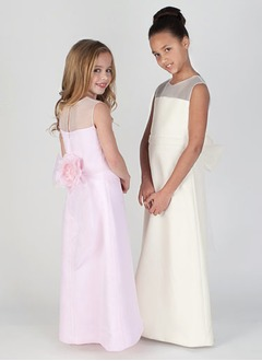 A-Line/Princess Scoop Neck Floor-Length Organza Satin Flower Girl Dress