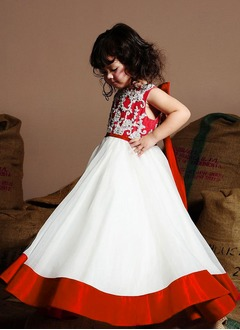 A-Line/Princess Scoop Neck Floor-Length Organza Charmeuse Flower Girl Dress With Lace Bow(s)