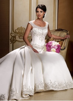 Ball-Gown Scoop Neck Cathedral Train Satin Wedding Dress With Embroidered Beading