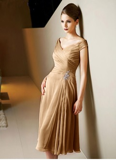 A-Line/Princess V-neck Tea-Length 30D Chiffon Mother of the Bride Dress With Ruffle Beading
