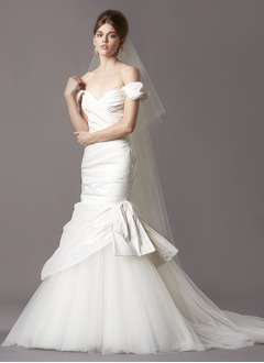 Trumpet/Mermaid Off-the-Shoulder Chapel Train Taffeta Tulle Wedding Dress With Ruffle