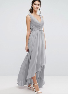 A-Line/Princess V-neck Asymmetrical Chiffon Bridesmaid Dress With Appliques Lace (0075126784)