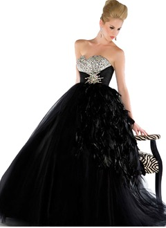 Ball-Gown Strapless Sweetheart Floor-Length Tulle Quinceanera Dress With Beading Feather Crystal Brooch