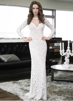 Sheath/Column Sweetheart Scoop Neck Floor-Length Lace Wedding Dress