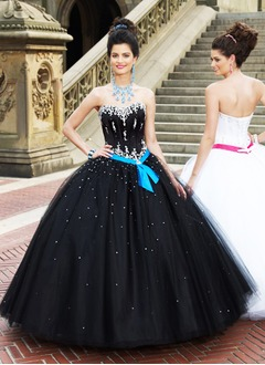 Ball-Gown Sweetheart Floor-Length Satin Tulle Quinceanera Dress With Lace Sash Beading