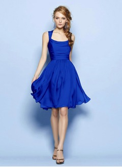 A-Line/Princess Square Neckline Knee-Length Lace 30D Chiffon Bridesmaid Dress With Ruffle