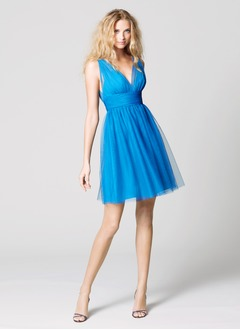 A-Line/Princess V-neck Short/Mini Tulle Cocktail Dress With Ruffle