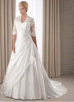 A-Line/Princess V-neck Chapel Train Taffeta Wedding Dress With Ruffle Lace
