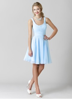A-Line/Princess Scoop Neck Knee-Length Chiffon Bridesmaid  ...