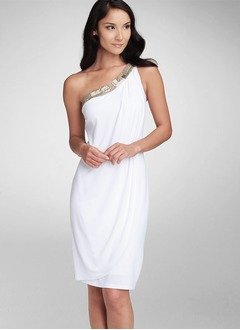 Sheath/Column One-Shoulder Knee-Length Chiffon Prom Dress With Ruffle Beading